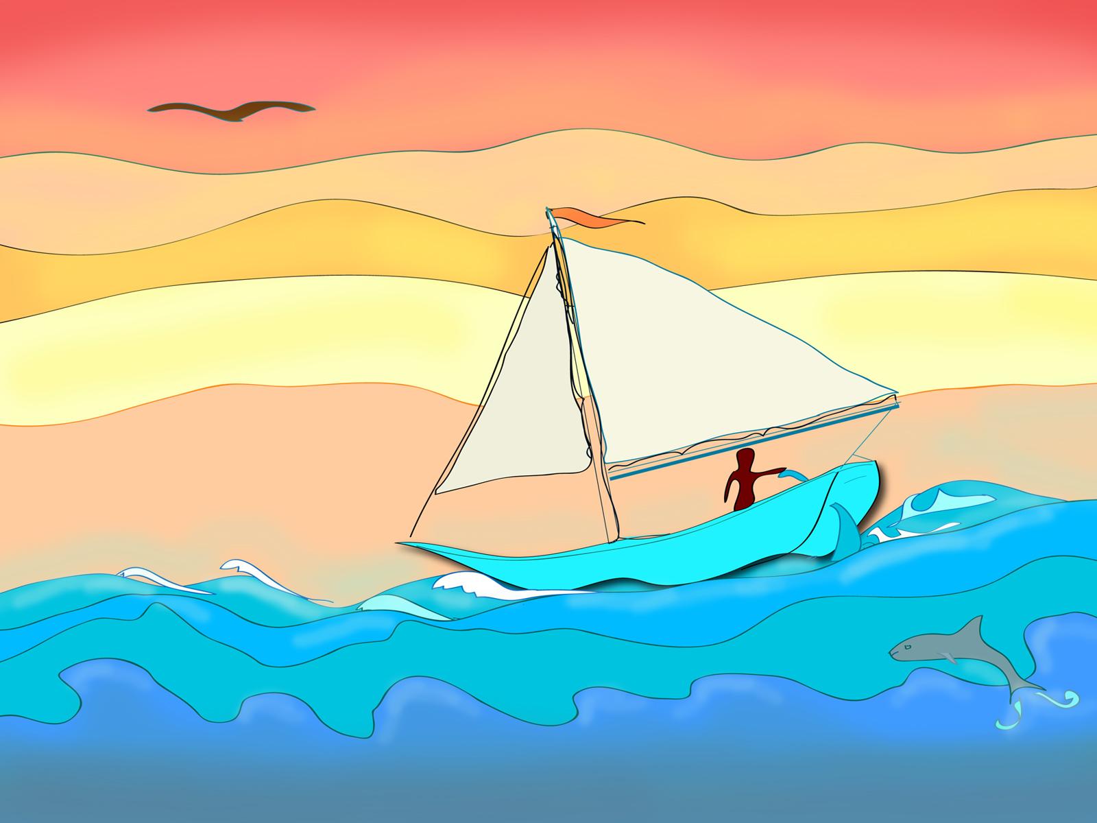 Animated Moving Boat Sail Boat Animation Penguin Moving Animation
